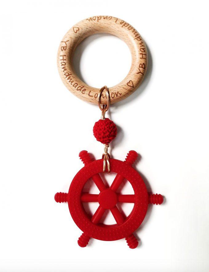 little captain teething bracelet - red