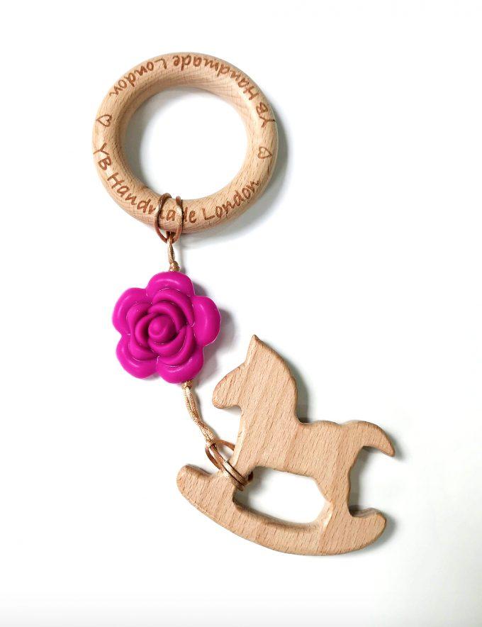 wood rocking horse teething bracelet