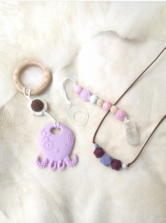 teether gift set - octopus - lilac