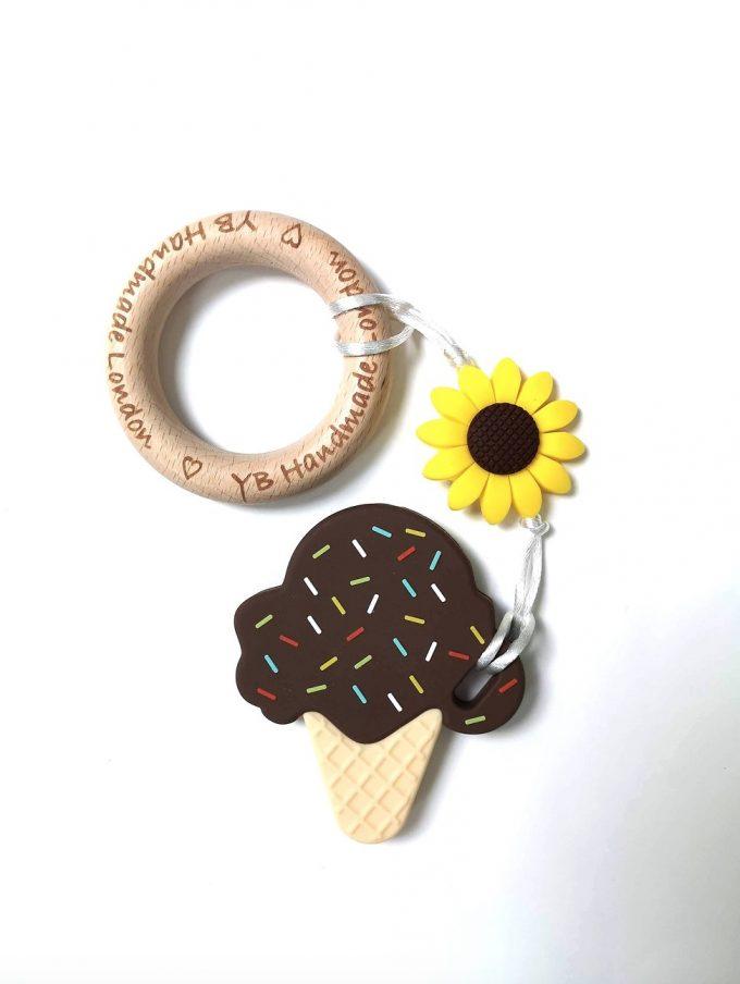 ice cream teething bracelet - chocolate