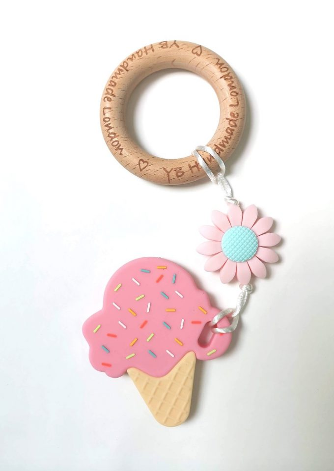 ice cream teething bracelet - pink