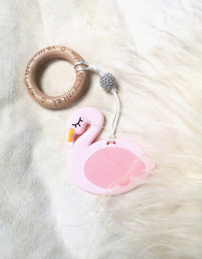 flamingo teething bracelet