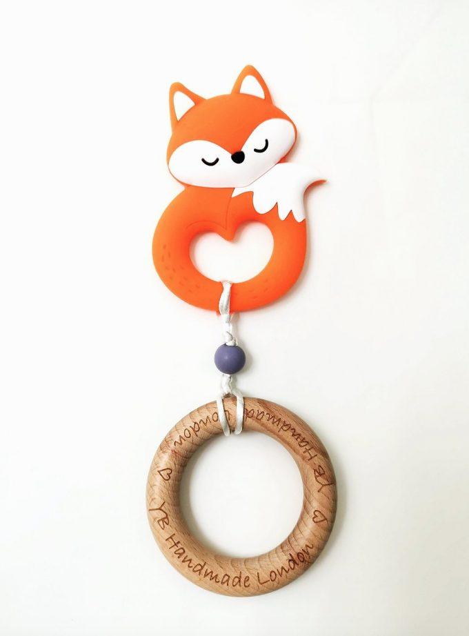 fox teething bracelet - red