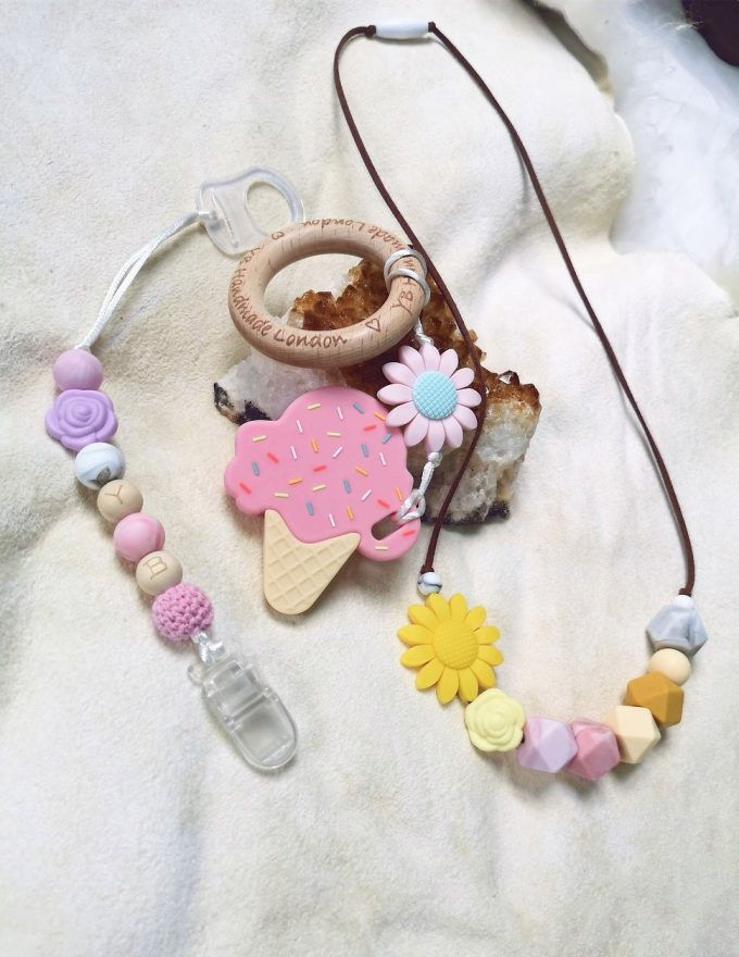 teether gift set - ice cream - pink