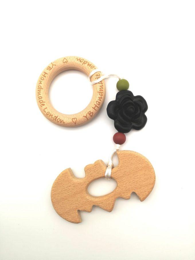 wood bat teething bracelet
