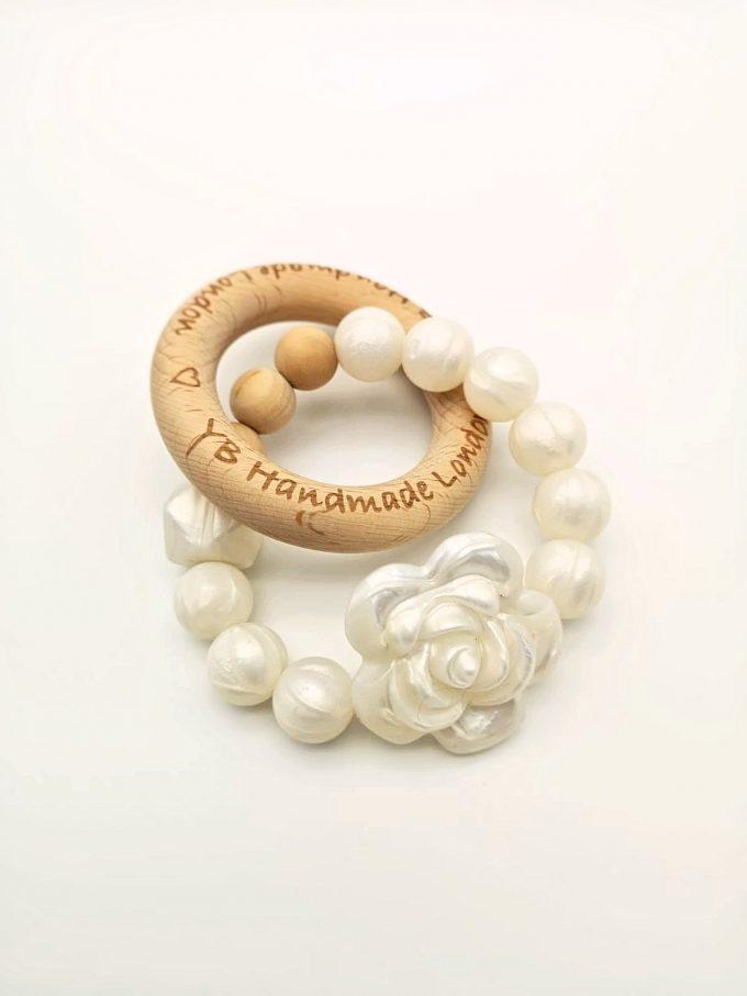 elegant rose teething ring - pearl