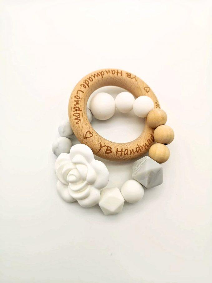 elegant rose teething ring - white