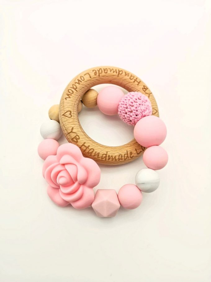 elegant rose teething ring - pink