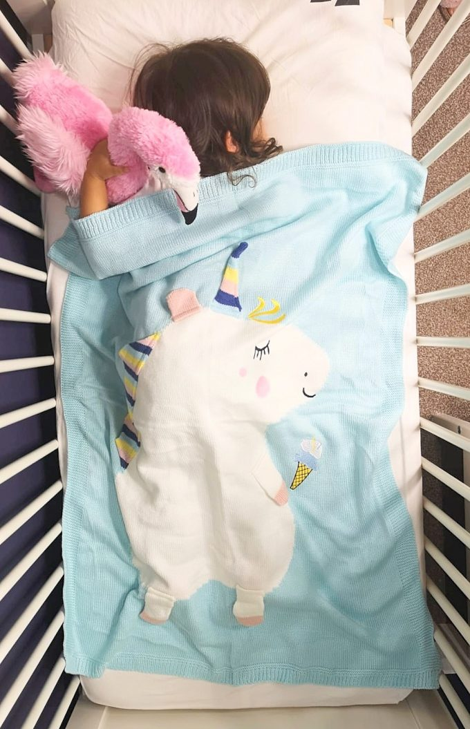 unicorn blanket - blue