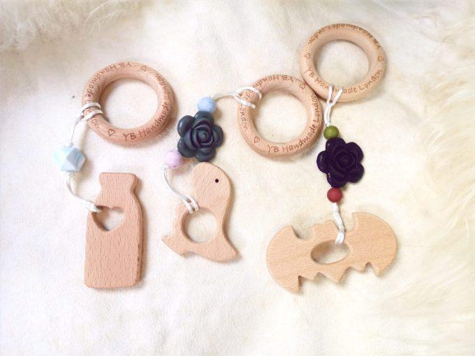 personalised teething bracelet - milk bottle, dino, bat