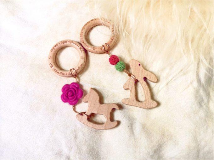 personalised teething bracelet - rocking horse, bunny