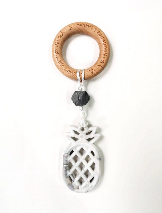 pineapple teething bracelet - marble