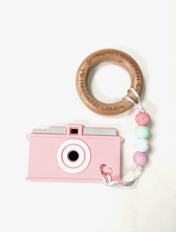 camera teething bracelet - candy pink