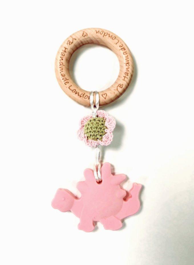 dino teething bracelet - pink
