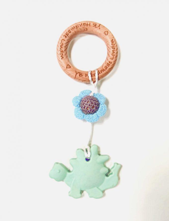 dino teething bracelet - green