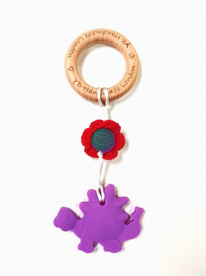 dino teething bracelet - purple