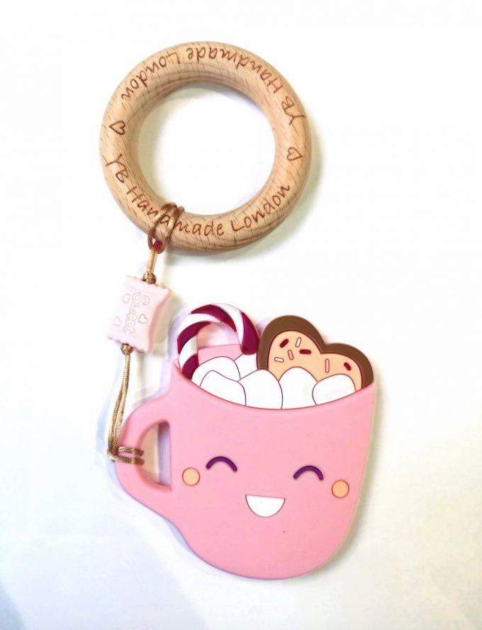 hot chocolate teething bracelet - pink