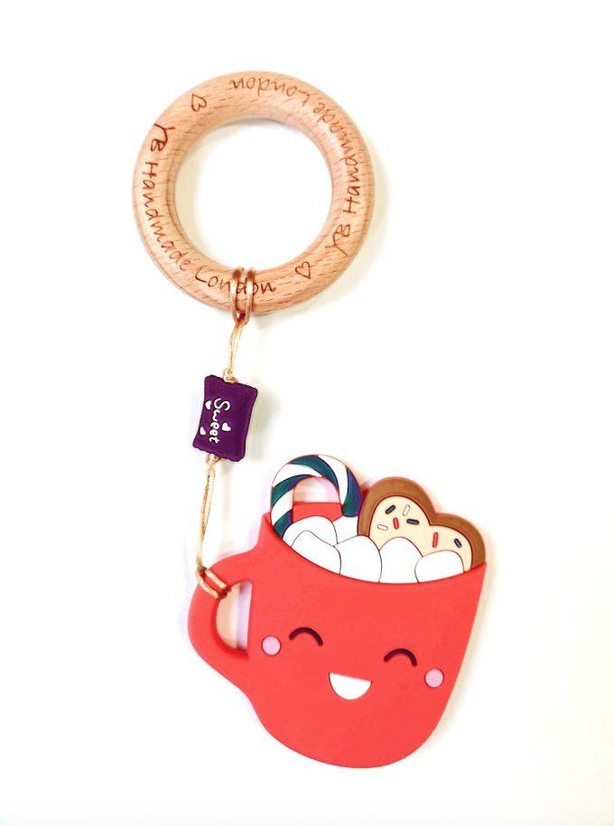 hot chocolate teething bracelet - red