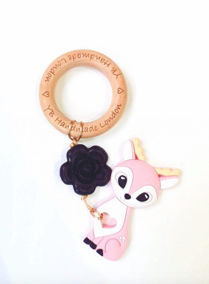 rose deer teething bracelet - pink