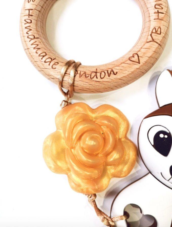 rose deer teething bracelet - brown