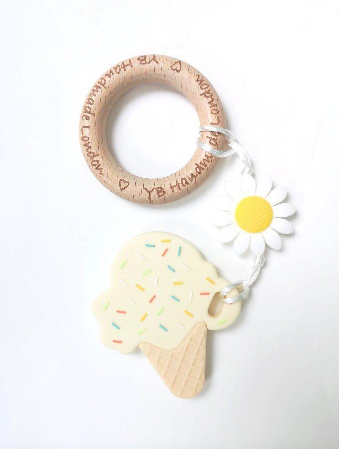 ice cream teething bracelet - cream