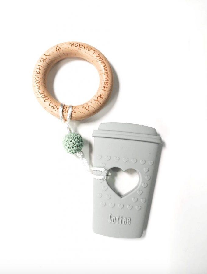 coffee cup teething bracelet - grey