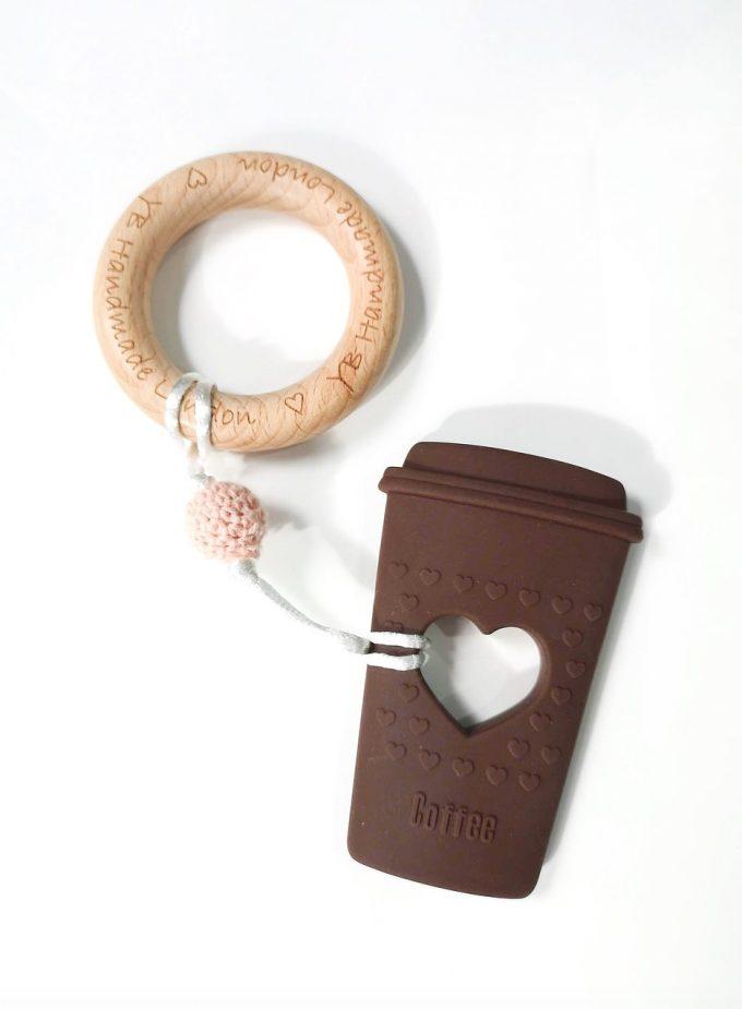 coffee cup teething bracelet - brown