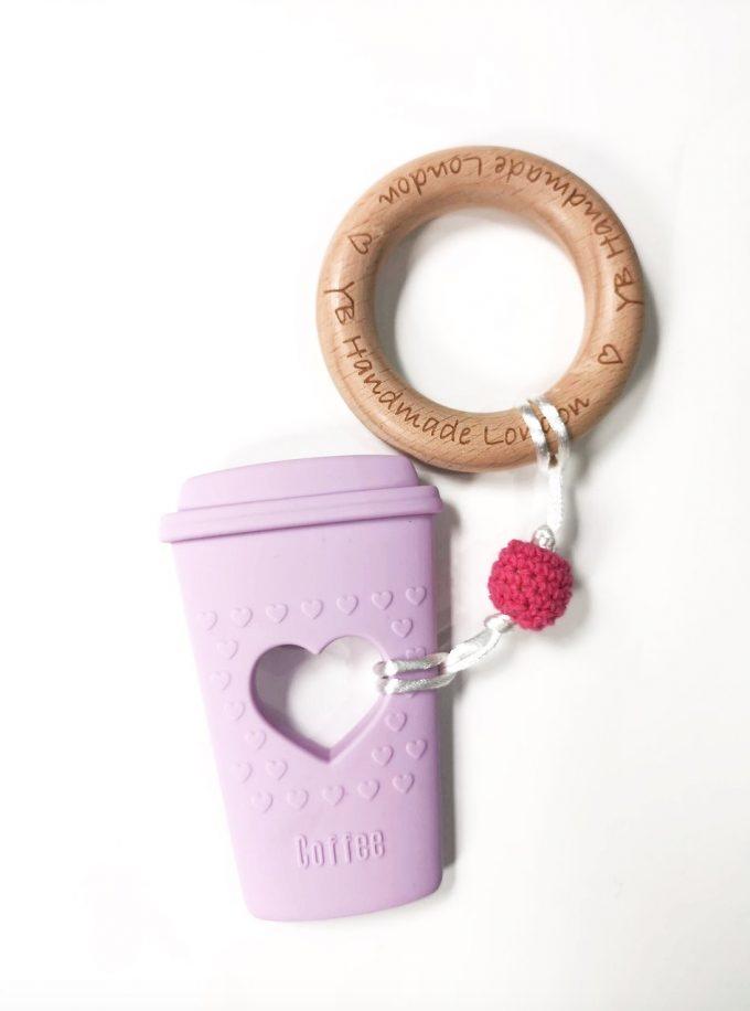 coffee cup teething bracelet - lilac