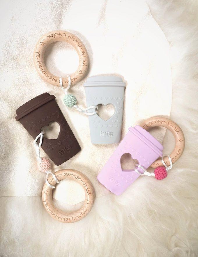 coffee cup teething bracelet