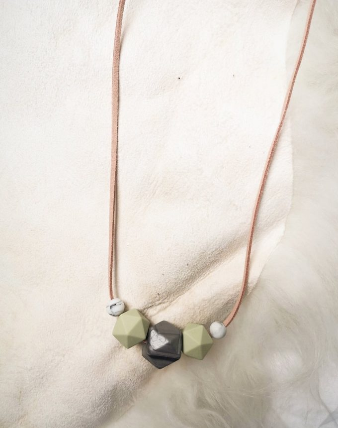 mother & baby teething necklace - steel silver, matcha green