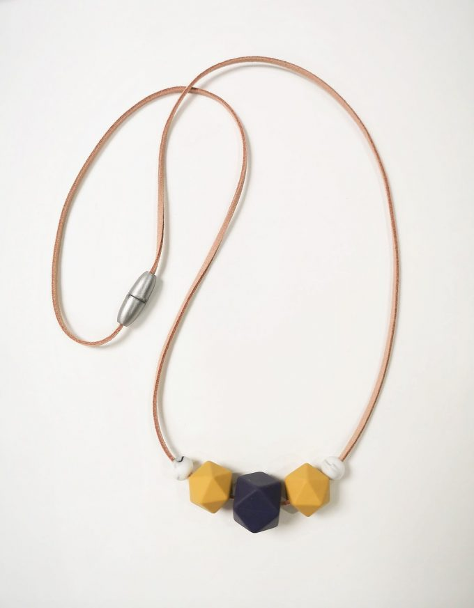 mother & baby teething necklace - midnight blue, mustard yellow