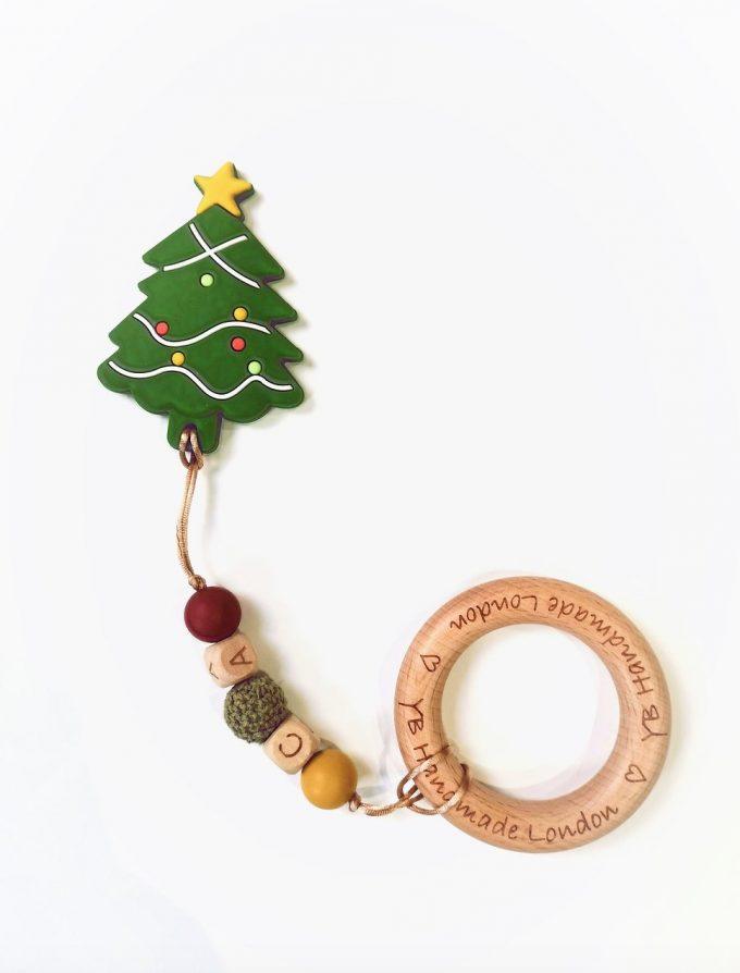personalised teething bracelet - christmas tree