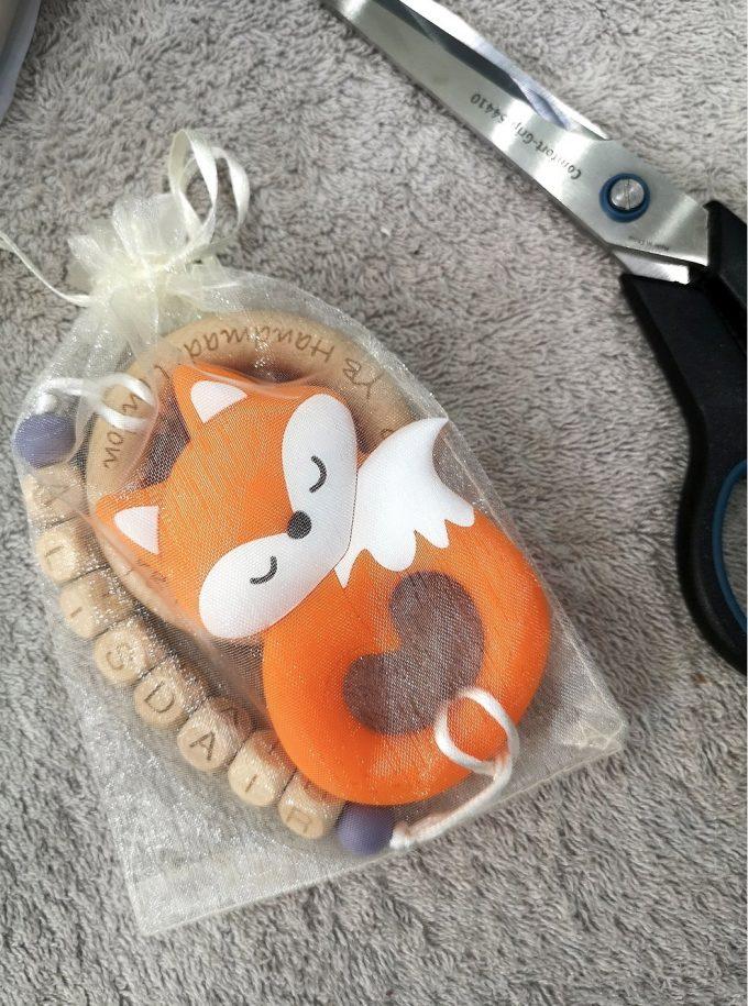 personalised teething bracelet - fox