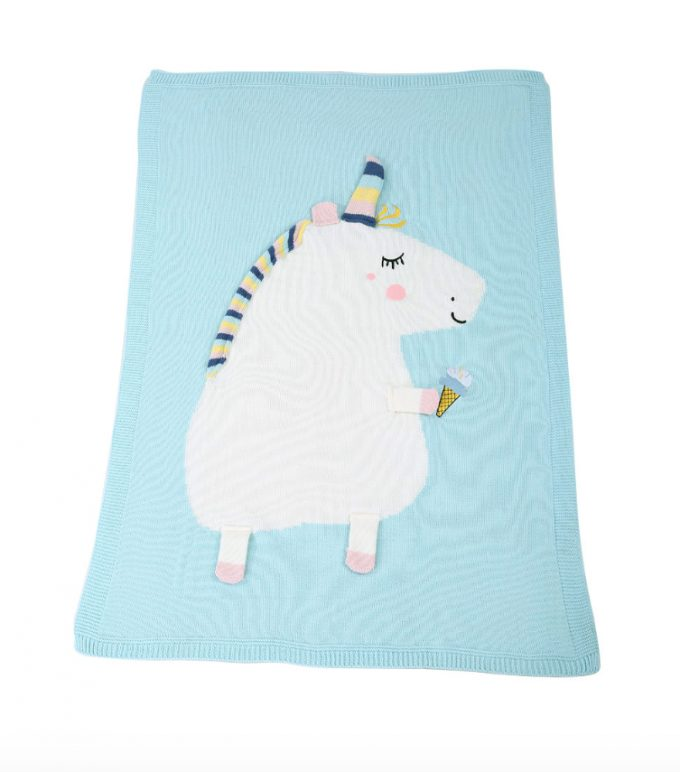 unicorn blanket - blue