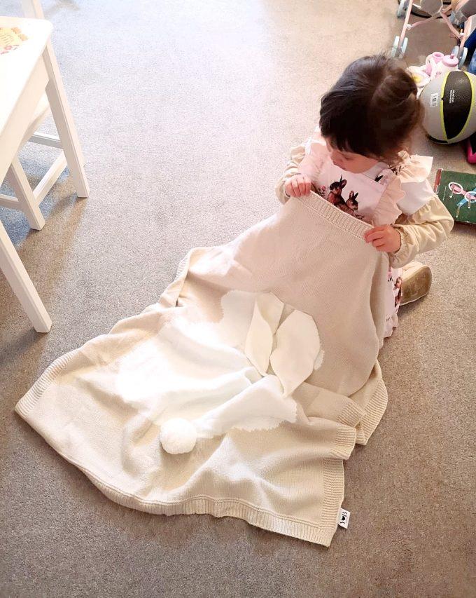 beige bunny blanket